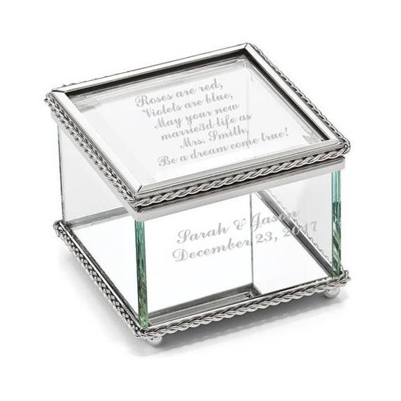 Silver And Glass Mini Jewelry Box Keepsake Box Glass Etsy