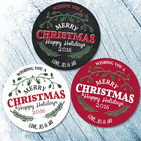 Merry Christmas Labels Merry Christmas Stickers Happy Holiday