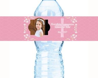 Full Photo Personalized Communion Water Bottle Labels - Communion Water Bottle Labels - Communion Decor - Girls Bottle Labels - Photo Labels