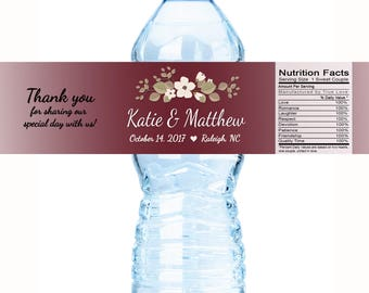 30 Wedding Water Bottle Labels, Personalized Water Bottle Labels, Wedding Labels, Wedding Welcome Bags, Floral Label, Wedding Favor, Crimson