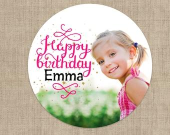 Birthday Photo Stickers, Custom Birthday Labels - Round Birthday labels - Photo Birthday stickers - Candy Stickers - Envelope Seals