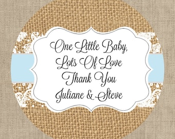 Mason Jar Lid Labels - Glossy Round Sticker Label Tags - Custom Baby Favors - Choice of Color - Burlap and Lace Stickers