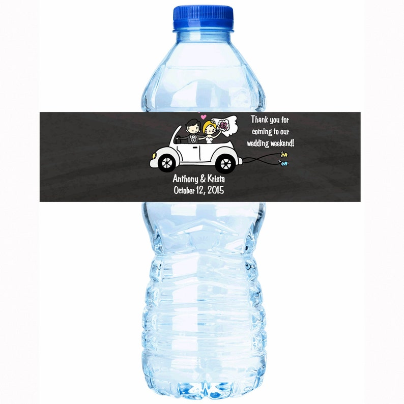 Just Married Get Away Car Wedding Decor Wedding Water Bottle Labels Personalized Wedding Favors Wedding Water Bottle Labels