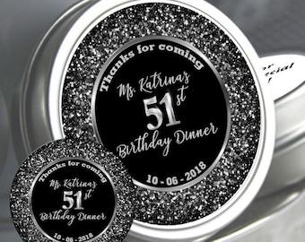 12 Personalized Birthday Mint Tins - Milestone Birthday - Birthday Favors - Birthday Mints - Birthday Decor - Birthday Party Favor Ideas