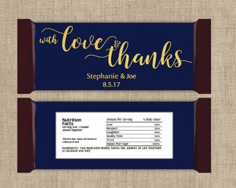 12 Large Personalized  With Love and Thanks Hershey Candy Bar Wrappers - Wedding Candy Bar Wrapper  - Other Colors Available