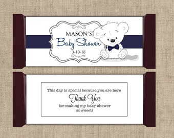 Large Personalized Hershey Candy Bar Wrappers - Baby Shower Candy Bar Wrapper  -  Baby Shower Decor - Cute Bear