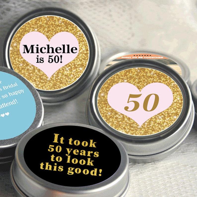 12 Personalized 50th Birthday Mint Tins 50th Birthday Decor Birthday Mint Tins Gold and Pink Gold Glitter Milestone Birthday