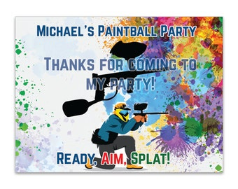 "4"" x 3""  Personalized Paintball Box Labels -  Birthday Paintball Bag Labels - Birthday Favor Labels - Paintball Stickers - Box Stickers"