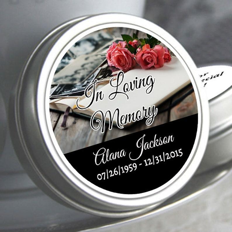 12 Personalized Memorial Mint Tin Favors Memorial Book with Roses Memorial Mints In Loving Memory
