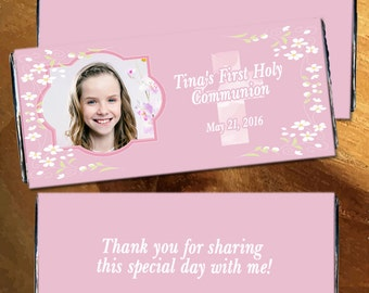 First Communion Chocolate Bar Wrappers - Holy communion candy wrapper, Pink Communion Wrappers, Girls Communion, First Communion Party Favor