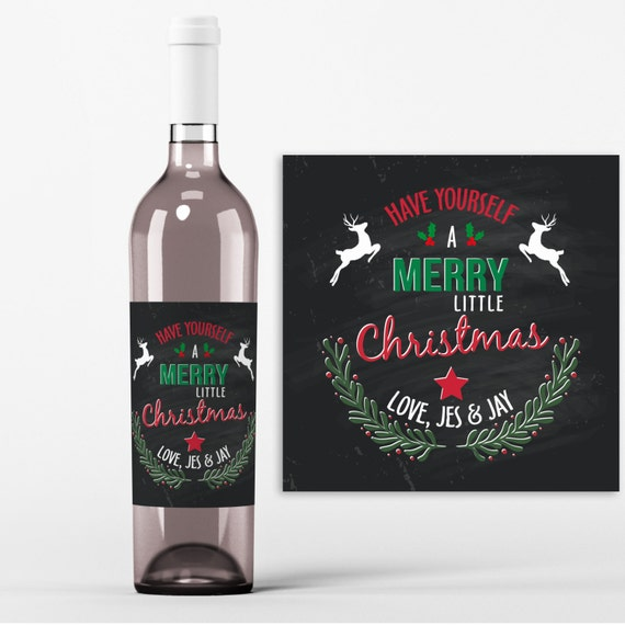 Christmas Wine Bottle Label 4 Christmas Wine Labels Have Etsy