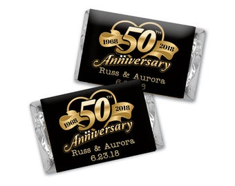 50th Anniversary Hearts Hershey's Miniatures Chocolate Wrappers - Anniversary Chocolate Wrappers - Wedding Decor - 50th Mini Wrappers