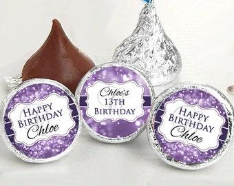 108 Birthday Hershey Kiss® Stickers - Birthday Hershey Kiss Stickers- Purple Birthday Kiss Labels - Hershey Kiss Seals - Candy Stickers