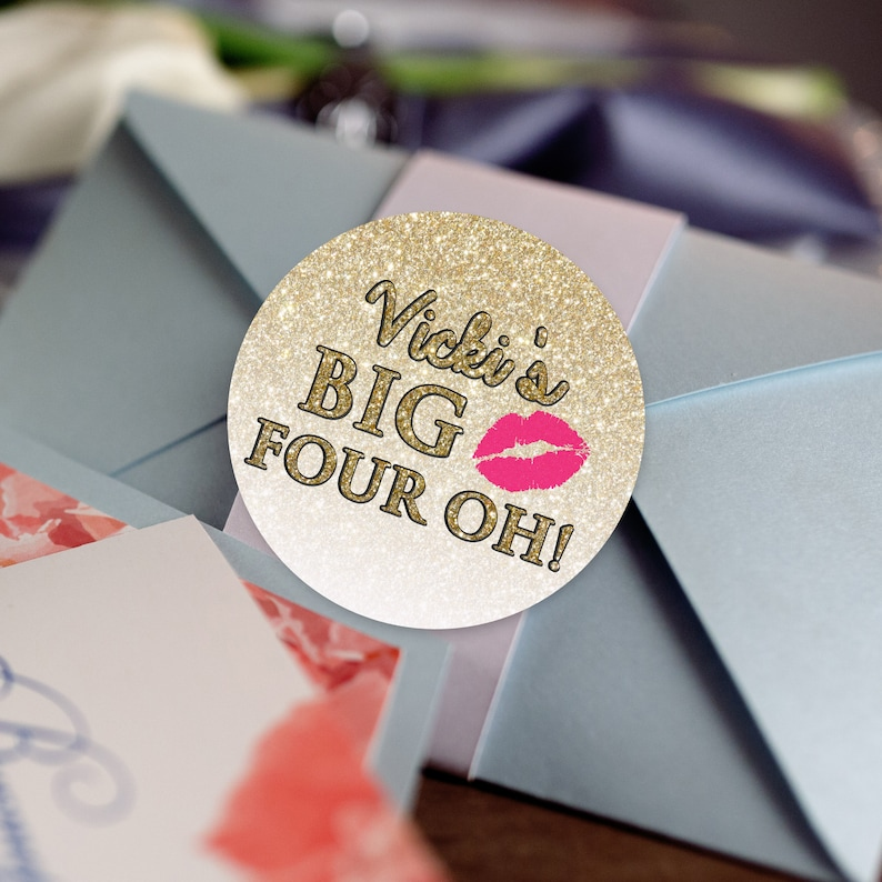 Birthday Favors Big Four Oh Faux Gold Glitter Favor Labels Gold Glitter Favor Labels Glossy Round Labels Gold Glitter Stickers