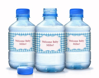 30 Classic Blue Gingham Baby Shower Water Bottle Labels - Baby Shower Water Labels - Baby Shower Decor - BBQ Party Supplies
