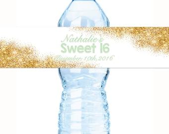 Gold Faux Glitter Water Bottle label - Glitter Birthday Water Bottle Labels -  Sweet 16 Water Labels - Glitter Bottle wraps - Stickers