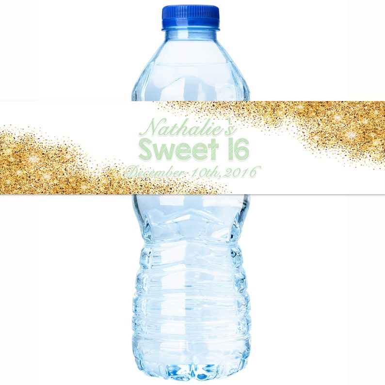 Gold Faux Glitter Water Bottle label - Glitter Birthday Water Bottle Labels  - Sweet 16 Water Labels - Glitter Bottle wraps - Stickers