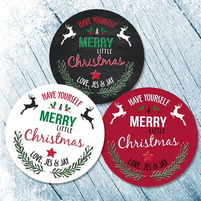 Merry Christmas Labels, Merry Christmas Stickers, Happy Holiday ...