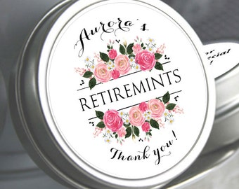 12 Retirement Mint Tins - RetireMints - Floral - Retirement Favors - Retirement Decor - Retirement Mints - Retired Mints - Ladies Retirement