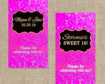 Hot PInk Glitter Miniatures Chocolate Wrappers - Birthday Mini Chocolate Wrappers - Birthday Decor - Wedding Decor - Pink Glitter Stickers