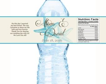 Beach Wedding Decor - Wedding Water Bottle Labels  - Starfish Wedding Labels - Starfish Bottle Labels - Wedding Decor - Wedding Favors