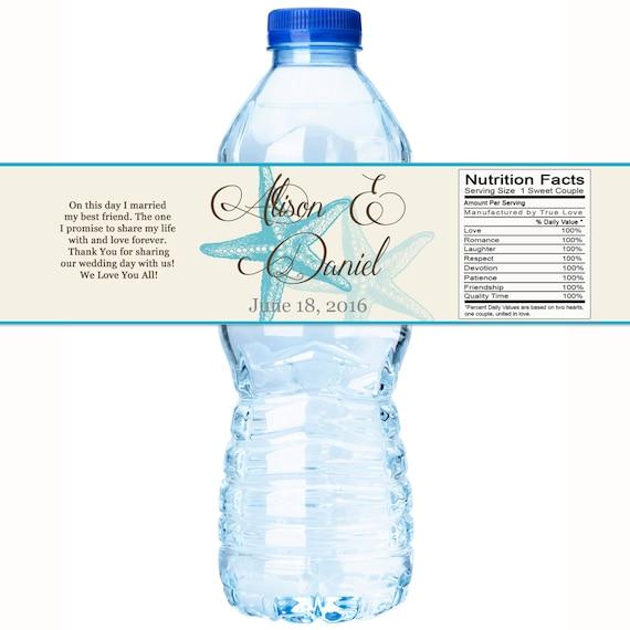 Wedding Water Bottle Labels Beach Water Bottle Labels Starfish Water Bottle Labels Beach Themed Starfish Wedding Starfish Labels