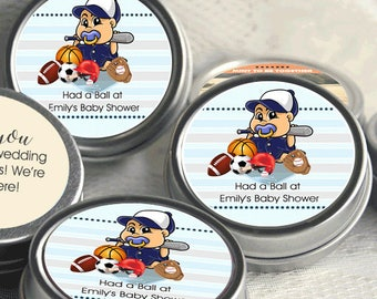 12 All Star Baby Shower Mint Tins - Boy Baby Shower - Sports Baby Shower - Baseball Baby Shower - Football Baby Shower - Baby Shower Favors