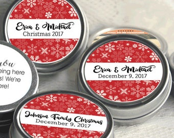 12 Personalized Winter Mint Tins Favors - Christmas Tin Mints - Winter Favors - Christmas Party Favors - Corporate Party Favors