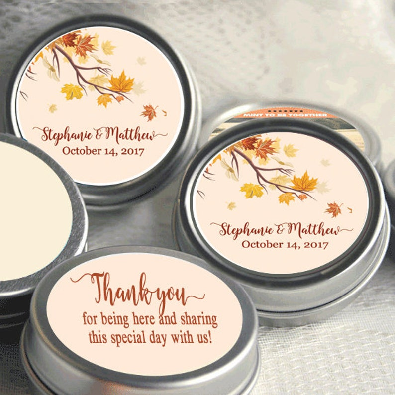Rustic Wedding Thank You Gift Fall Bridal Shower Autumn 72 Personalized Fall Mint Tins Fall in Love Mint Favor Keepsake