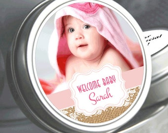 "12 Sweet Baby Burlap and Lace Baby Shower Photo Mint Tin Favors - Select the total you need in the ""quantity and pricing"" drop down box"