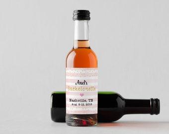 Personalized Custom Mini Wine Bottle Labels  - Bachelorette Party Labels - Pink Stripes - Set of 10