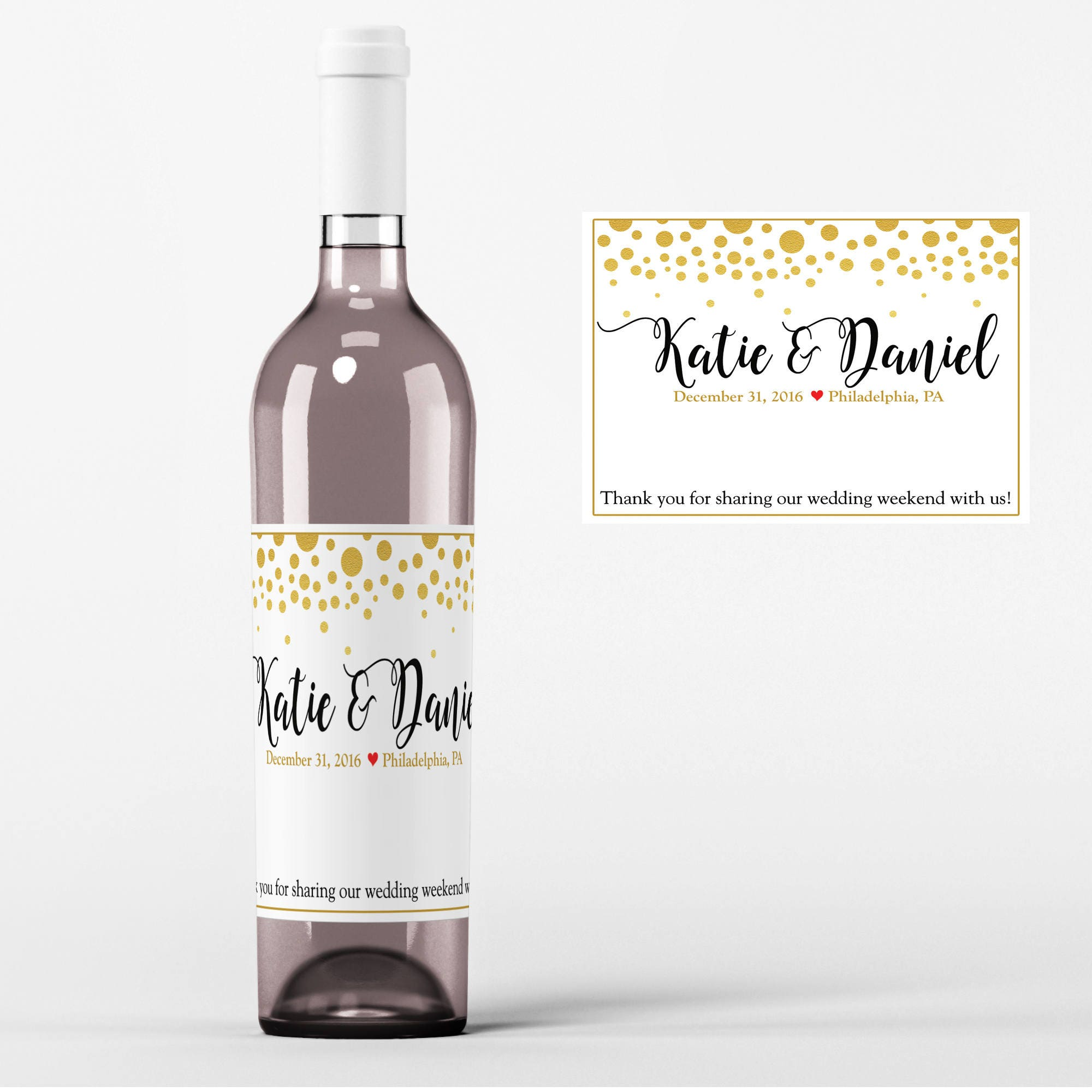 Gold Dots Wine Labels Wedding Wine Labels Gold Dots Wedding