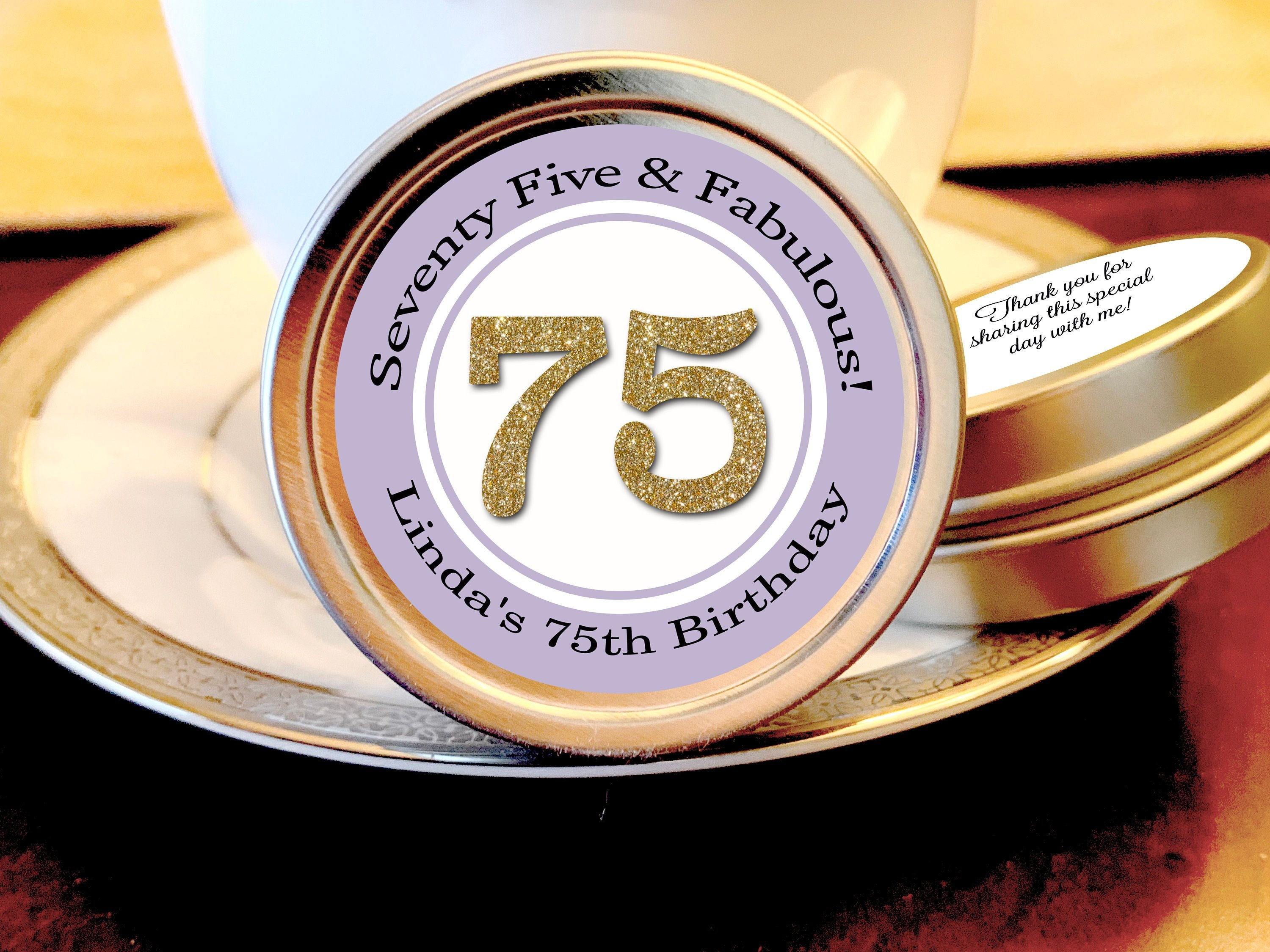75th Birthday Mint Tin Party Favors