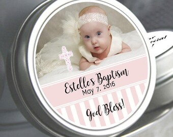 Girls Baptism, Candy Tins, Baptism Favors, Baptism Mint Tins, Party Favors, Candy Favors, Photo Baptism Favors, 72 - 144 Personalized Tins