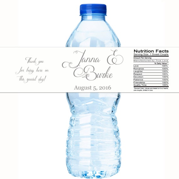 Wedding Water Labels Rose Floral Wedding Favors 30 Waterproof Bottle Labels Wedding Water Bottle Labels Custom Water Bottle Labels
