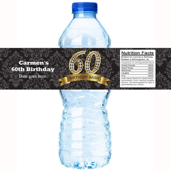 30 Birthday Water Bottle Labels Personalized Bottle Labels Etsy
