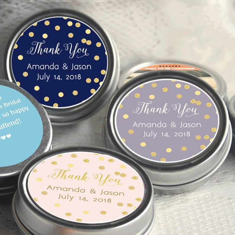 60 Personalized Silver Mint Favors Wedding Decor Gold Gold Glitter Thank you Favors 12 Wedding Favors Personalized Tin Mints