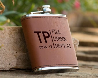 Personalized 6 oz. Initials Leatherette Stainless Steel Flask - Groomsman Flask - Personalized Flask - Brown Flask - Fill Drink Repeat