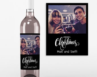 Christmas Wine Bottle Label - 4 Christmas Wine Labels - Christmas Gifts, Secret Santa Gift, Merry Christmas 2016 Photo Wine Labels