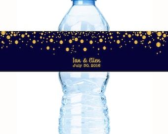 Wedding Water Bottle Labels, Personalized Water Bottle Labels, 30 Gold Confetti on Navy Wedding Water Bottle Labels, Wedding Welcome Bags