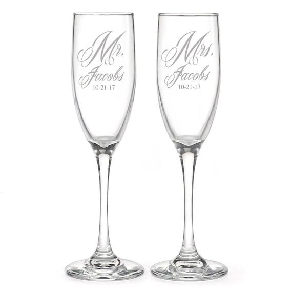 Engraved Wedding Wine Glasses