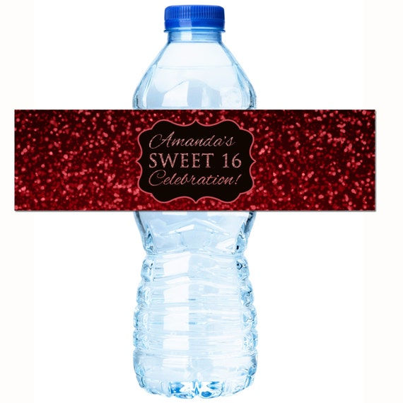 SWEET SIXTEEN SILVER /& BLACK BIRTHDAY PARTY FAVORS WATER BOTTLE LABELS WRAPPERS