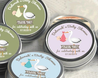 12 Personalized Baby Shower Mint Tins - Baby Stork Baby Shower Favors -Baby Shower Favors - Stork Favors  - Birthday Favors