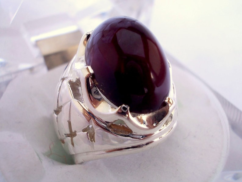 Dark Red Agate Sterling Silver Ring Personalized Gift For Him