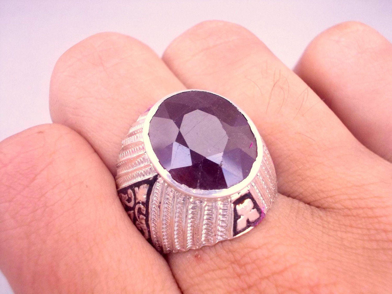 Ruby Ring Ruby Ring Men Silver Ruby Ring Yaqoot US 9 | Etsy