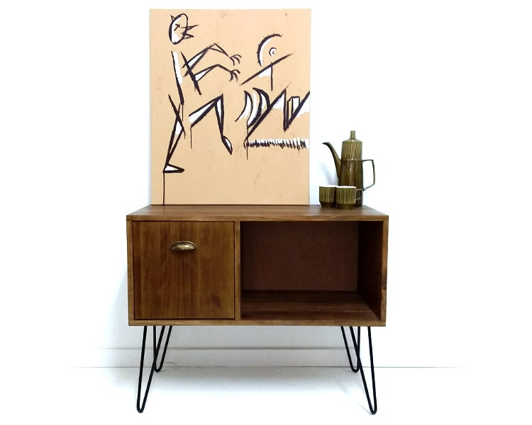 Vinyl Record Storage Console Table Record Cabinet Etsy