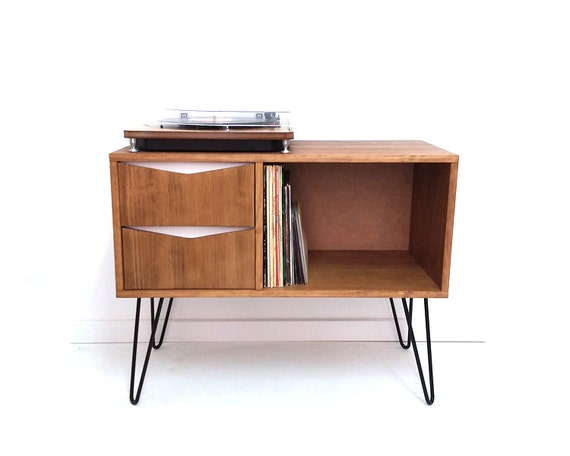 Vinyl Record Storage Console Table Mid Century Modern Table Etsy