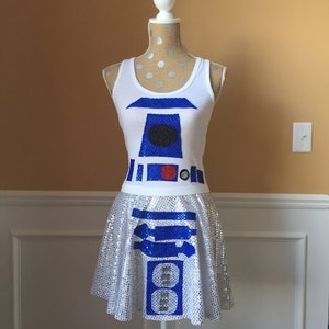 Galaxy droid BB Unit Robot Running costume outfit skirtPerformance top
