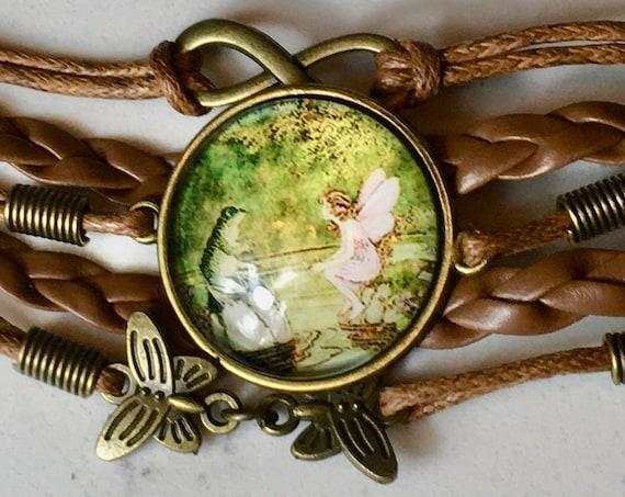FROG AND FAIRY Bracelet, Fairytale Bracelet, Whimsical Bracelet, Fairytale Birthday Favors, Fairytale Gifts, Fairytale Christmas Gift, Fairy