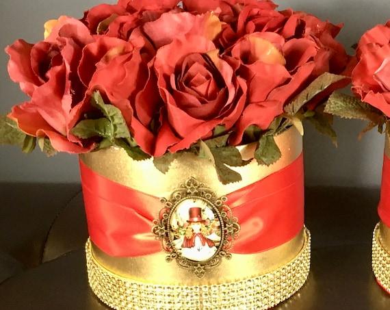 CHRISTMAS WEDDING CENTERPIECE, Red Rose Centerpiece, Girl Caroler Centerpiece, Roses in Hat Box Centerpiece, Christmas Housewarming Gift